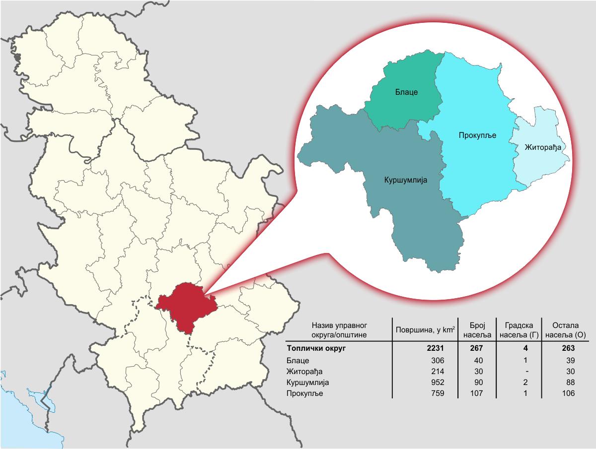 Топлички Управни округ - Географски положај